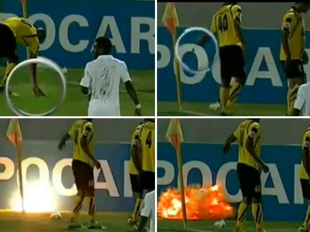 Um jogador joga uma granada para fora o campo antes de explodir