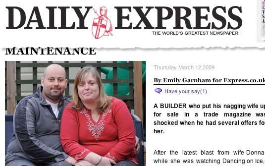 Britânico colocou sua 'esposa reclamona' à venda e se surpreendeu com as ofertas