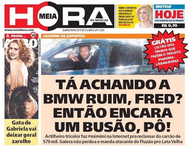 Reclamações de Fred com BMW X6 não é perdoada pelo jornal meia hora
