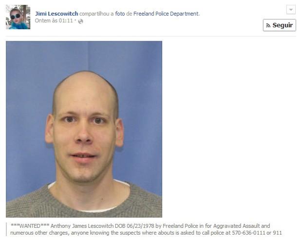 Americano é preso após compartilhar a própria foto de procurado no Facebook