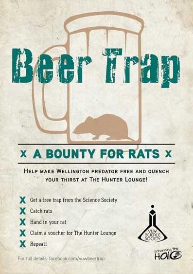 Universitários podem comprar cerveja usando ratos como moeda na Nova Zelândia