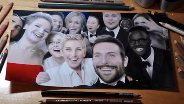 Isto não é uma foto selfie do Oscar, mas sim um desenho incrivelmente realista