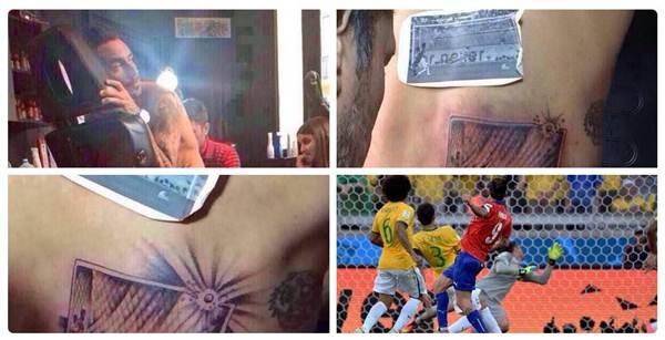 """""""Um centímetro para a glória"""": Pinilla tatua bola na trave que quase eliminou o Brasil"""